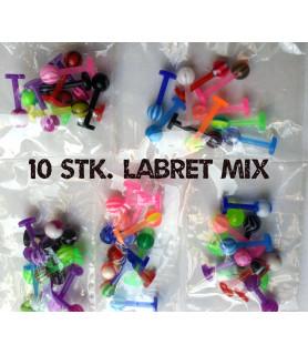 Farverigt akryl Labret Mix med 10 stk. Labrets