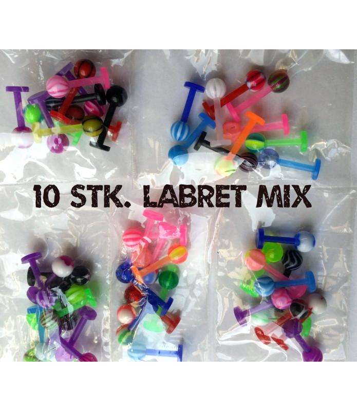 Farverigt Labret Mix med 10 stk. Labrets