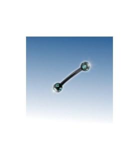 Black line Øjenbryns piercing med grønne juvelbesatte kugler