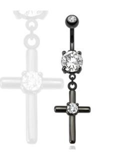 Kristent kors i sort til Navlepiercingen - med flot klar Zirconia i center.