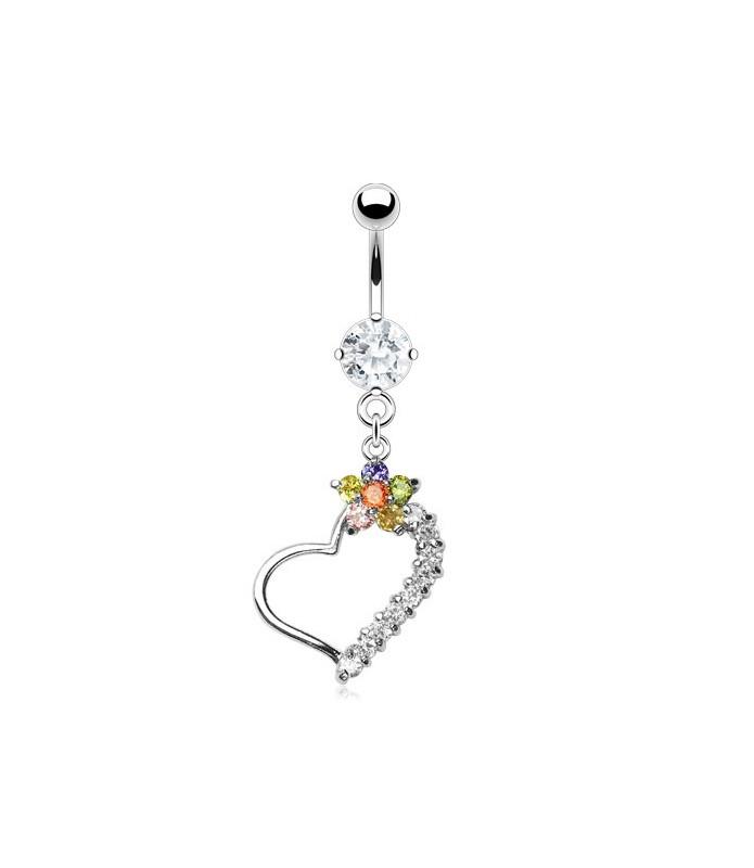 Funklende regnbue blomst piercingsmykke til din smukke navle
