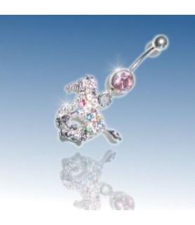 Superflot navle piercing med zirkoniabesat HEST – rainbow