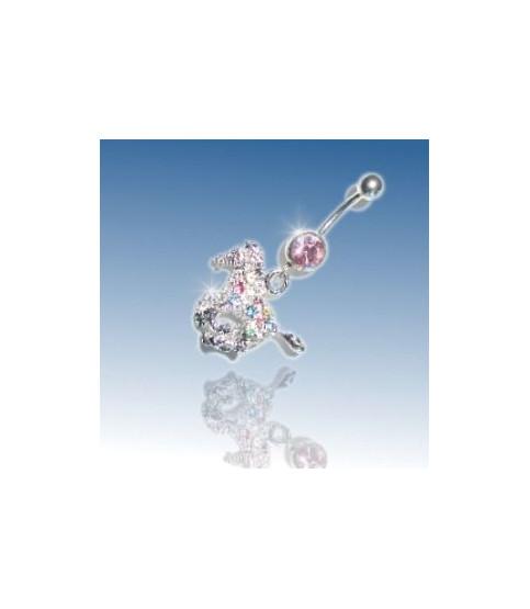 Superflot navle smykke med Multi krystalbelagt Hest.