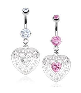 -Dobbelt hjerte til din Navlepiercing - Pink eller Klar