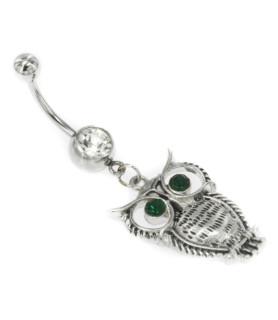 Ugle med grønne Zirconia øjne - smukt design - Tre stavlængder