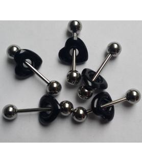 Tungepiercingsmykke med sort Akrylhjerte Charm
