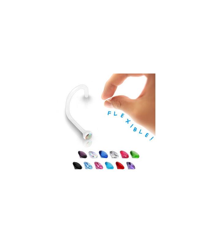 Næsepiercing bioflex med flotte zirkonia