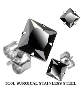 Øresticker med Sort facetslebet Zirconiasten - 2 stk - fra 3 - 10mm