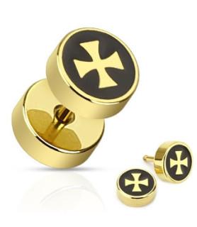 Guldbelagt Fake Plug med Jern Kors til øret
