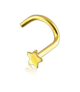 Næse piercing med Stjerne i 14K Massivt Guld