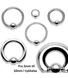 CBR piercingring med nem pop-ud kugle