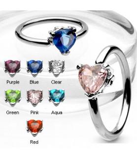 -CBR ring med Hjerte i G14 - vælg din farve