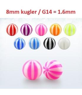 Flotte akrylkugler i Badebold design - G14 - Syv farver