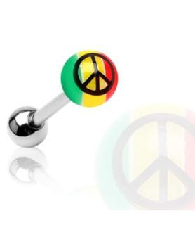 Peace - Tungepiercingsmykke i Rasta farver