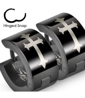 Bred Hoops Øre-ring med Kors