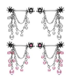 Brystpiercingsmykke med flot perle vedhæng
