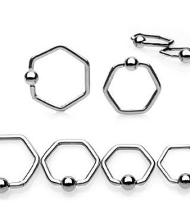 Sekskant Closure ball piercingring 3 forskellige str.
