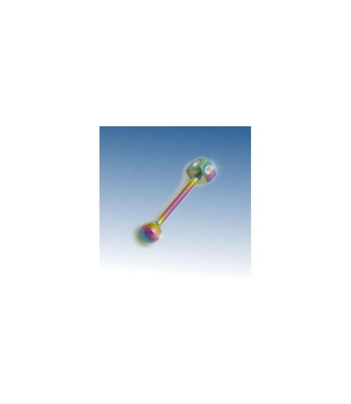 Flot anodiseret tunge piercing med klare Zirconia
