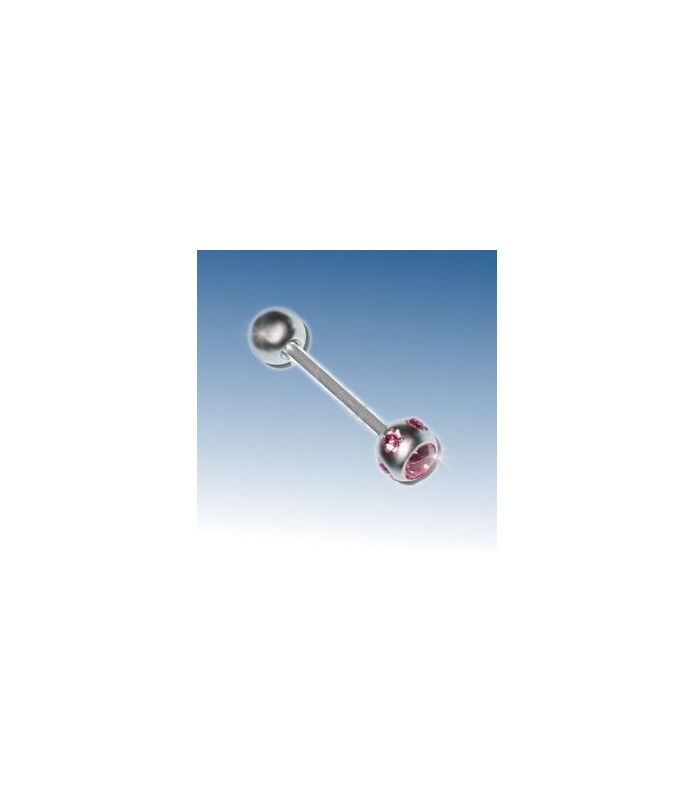 Kanon flot tunge piercing med 6 stk. Pink Zirconia sten