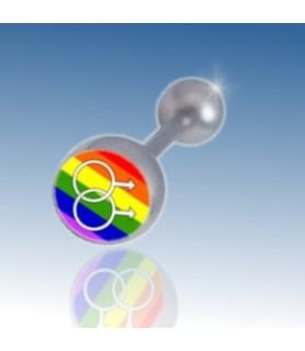 "Tungepiercing med logo ""Gay Pride"" mandetegn"