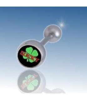 "Tungepiercing med logo ""Lucky firkløver"""