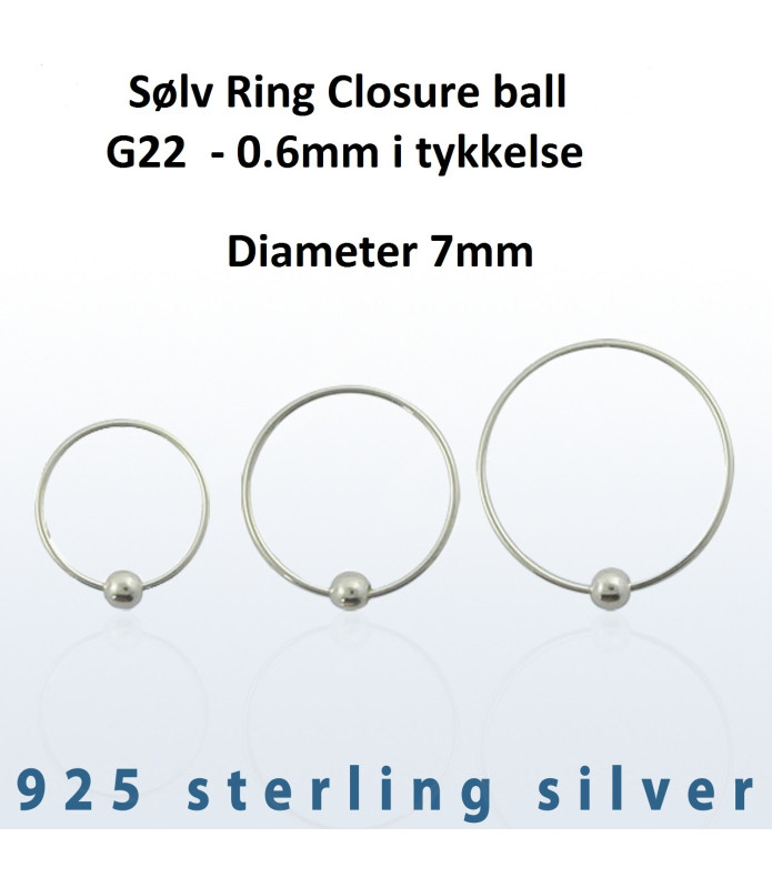 Sølv Ring Closure ball G22 Dia. 7 mm.