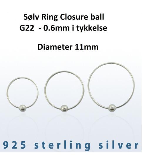 Sølv Ring Closure ball G22 Dia. 11 mm.