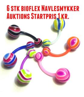 AUKTION! på 6 stk Akryl Navlesmykker - Startpris 1 kr.