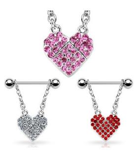 Smuk brystpiercing smykke med svarowski-krystaller