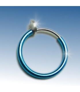 Fake piercing ring 3 str. Blå anodiseret