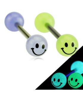 Søde tunge-piercinger smiley lyser i mørket