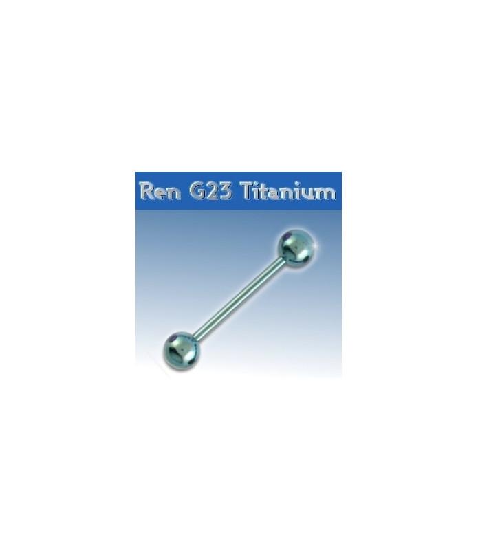 Flot lysblå titanium tungepiercing - barbel
