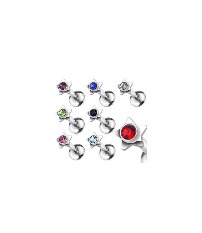 Læbe og traguspiercinger med stjerne og krystaller