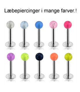 Læbepiercing - labret med glimmer-perle G16  1.2mm
