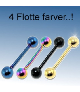 Tungepiercinger i 4 flotte farver - kirurgisk stål.