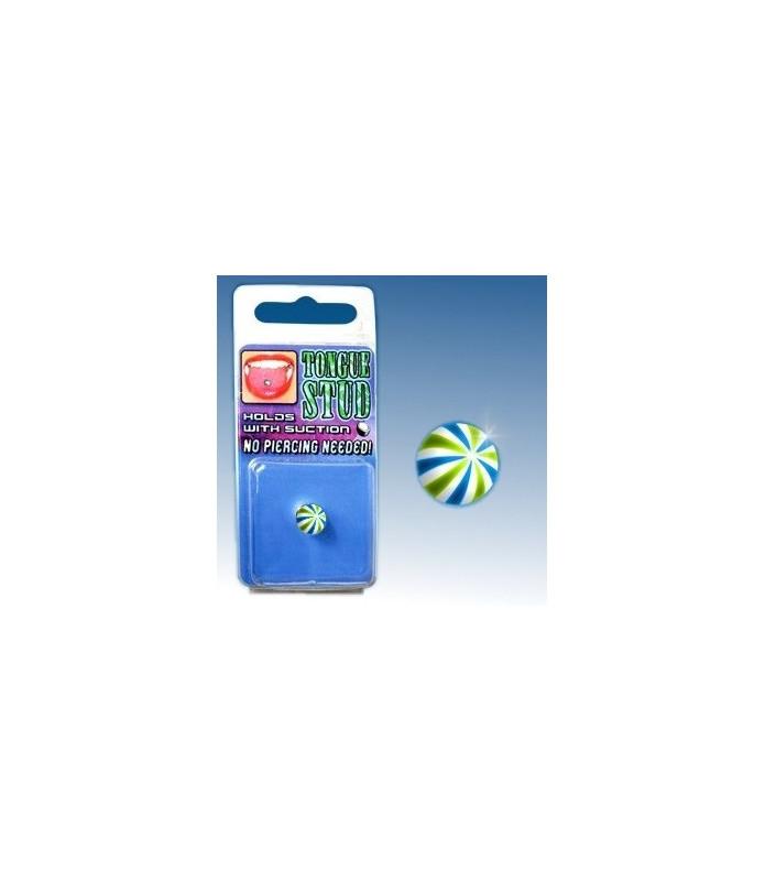Fake tungepiercing Blå, Hvid, Grøn beachball