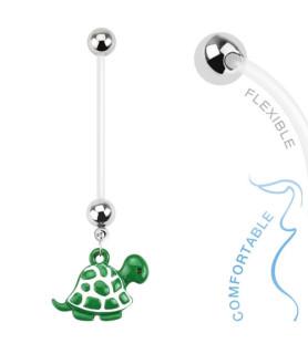Sød Grøn Turtle Navlepiercing til Gravide (Flex stav)