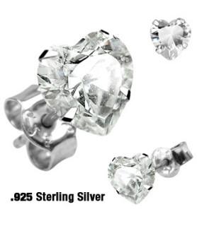 Øresticker med Flot Hjerteformet Zirconia Ægte Sølv