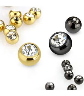 Guldbelagt eller sorte piercing kugler med krystal G14