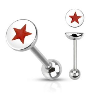 Tungepiercing med flot rød Stjerne