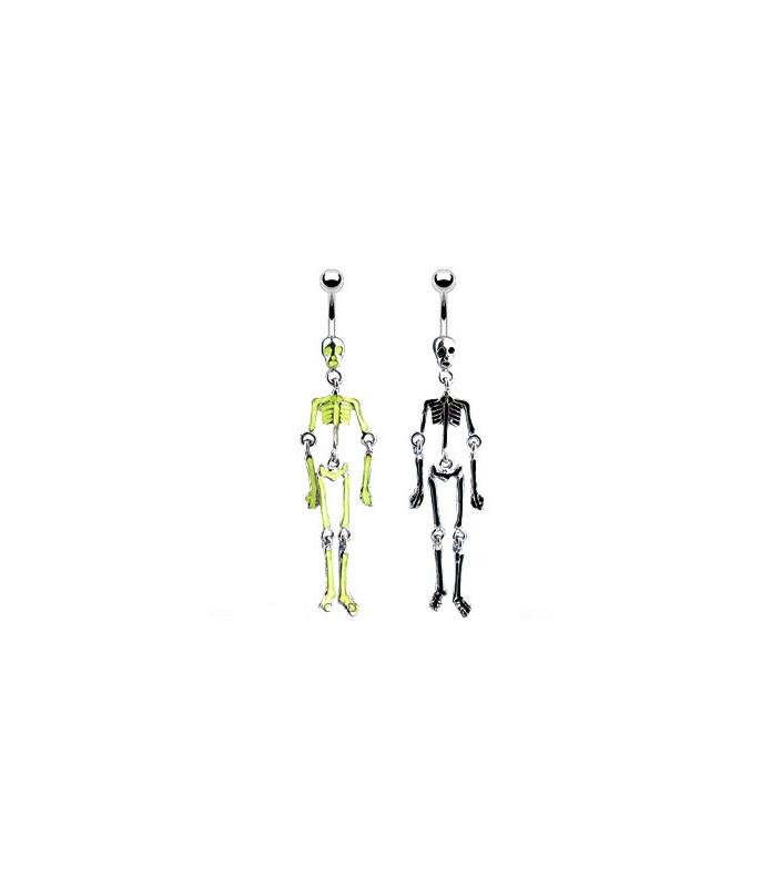Navlesmykke med sjovt ledløst skelet vedhæng