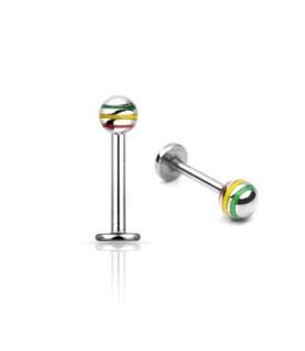 Rasta designet Labret piercing med kugle