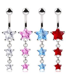 -Søde navlepiercing smykker med juvelstjerner