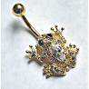 Sjælden Guldbelagt frø med stor Zirconia til Navlepiercingen