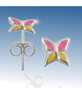 Øresticker, ægte sølv - Håndmalet pink/gul blomst