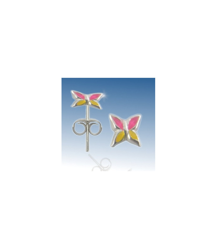 Øresticker, sterling sølv - Håndmalet pink/gul blomst