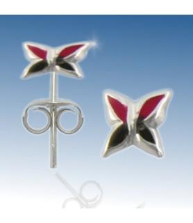 Øresticker i sølv - Håndmalet Rød/sort blomst