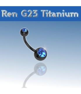 Lækker titanium navlepiercing - sort med blå krystal