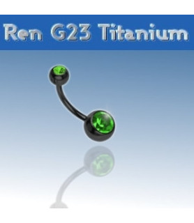 Lækker titanium navlepiercing - sort med Grøn krystal