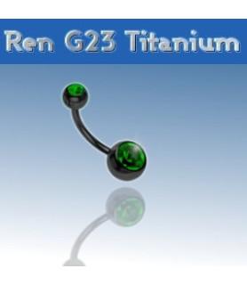 Lækker titanium navlepiercing - sort med Dybgrøn krystal